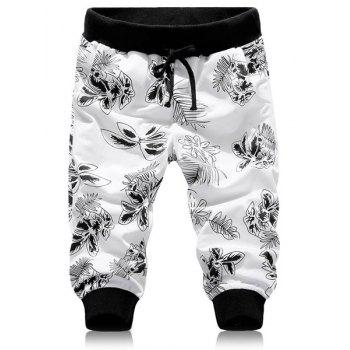 Casual Beam Feet Leaves Print Lace-Up Men's Capri Pants
