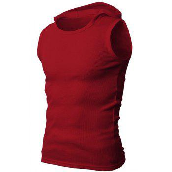Solid Color Round Neck Sleeveless Men's Rib Tank Top - WINE RED M