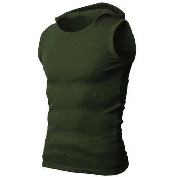 Solid Color Round Neck Sleeveless Men's Rib Tank Top - ARMY GREEN M