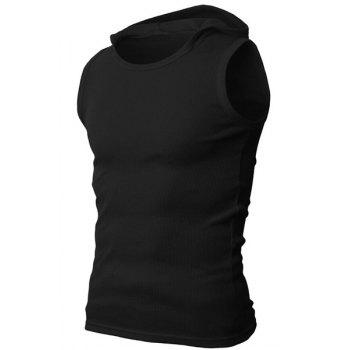 Solid Color Round Neck Sleeveless Men's Rib Tank Top - BLACK M