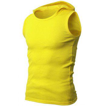 Solid Color Round Neck Sleeveless Men's Rib Tank Top - YELLOW YELLOW