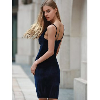 Trendy Solid Color Spaghetti Strap Backless Sleeveless Dress For Women - CADETBLUE XL