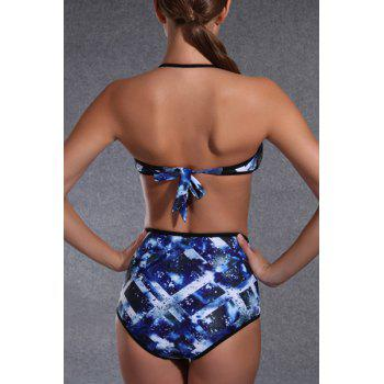 Chic Printed Halter High Waist Push Up Bikini For Women - BLUE XL