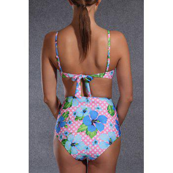 Sweet Floral Print High Waist Push Up Bikini For Women - COLORMIX L