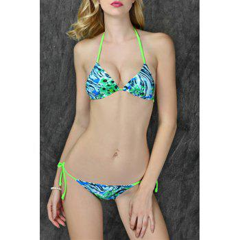Sexy Self-Tie Halter Printed Women's Bikini Set
