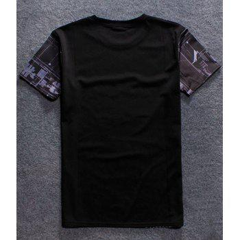 Pullover Fashion Round Collar Letter Printing T-Shirt For Men - COLORMIX L