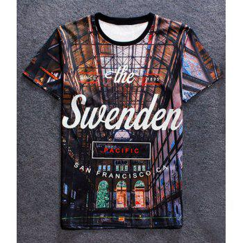 Fashion Round Collar Pullover Letter Printed T-Shirt For Men - COLORMIX COLORMIX