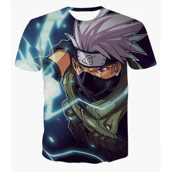 Fashion Round Collar Pullover Ninja Printed T-Shirt For Men - COLORMIX COLORMIX