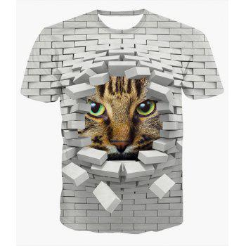 Fashion Round Collar Pullover 3D Wall Printed T-Shirt For Men - COLORMIX COLORMIX