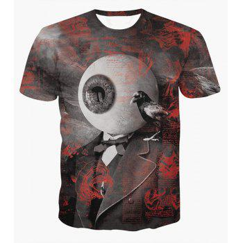 Fashion Round Collar Pullover Eyeball Printed T-Shirt For Men