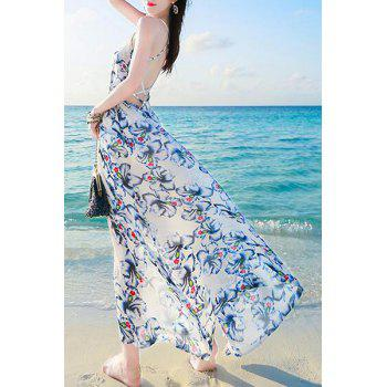 Bohemian Floral Print Spaghetti Strap Backless Women's Dress - L L