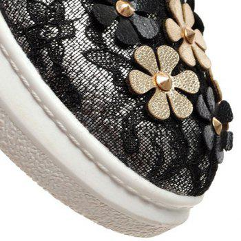 Casual Flowers and Lace-Up Design Platform Shoes For Women - GOLDEN GOLDEN
