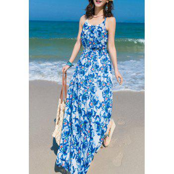 Spaghetti Strap U Neck Floral Print Dress