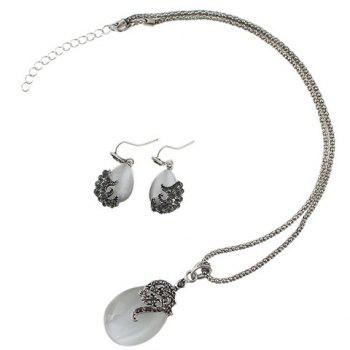 A Suit of Water Drop Faux Opal Necklace and Earrings - SILVER