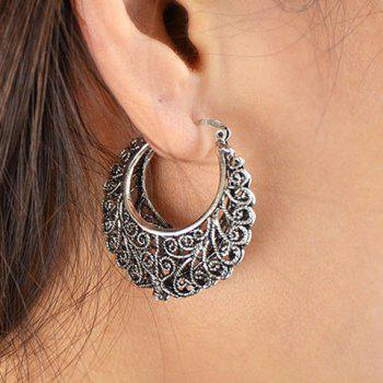 Pair of Hollow Out Moon Earrings - SILVER