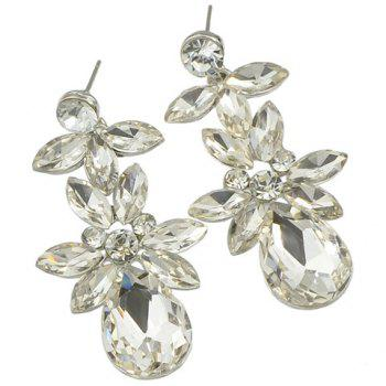 Pair of Faux Crystal Rhinestone Water Drop Earrings - WHITE