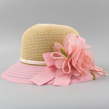 Chic Flower and Ribbon Embellished Color Block Women's Straw Hat