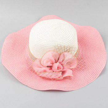 Chic Flower Shape and Mesh Embellished Wavy Edge Women's Straw Hat