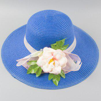 Chic Peony Leaf Shape and Lace Embellished Women's Straw Hat