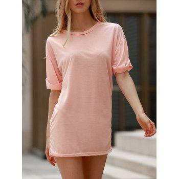Casual Scoop Neck Short Sleeve Solid Color Loose Women's T-Shirt