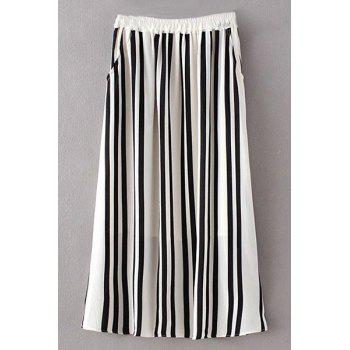 Stylish High Waist Stripe A Line Women's Skirt