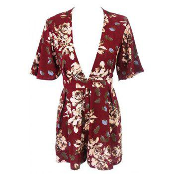 Stylish Plunging Neck Short Sleeve Floral Women's Romper