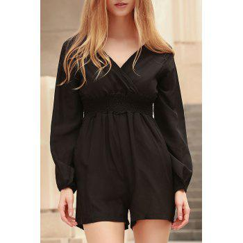 Stylish Plunging Neck Long Sleeves Solid Color Women's Romper