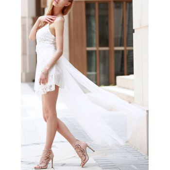 Alluring Spaghetti Strap Sleeveless High Slit Pure Color Women's Dress