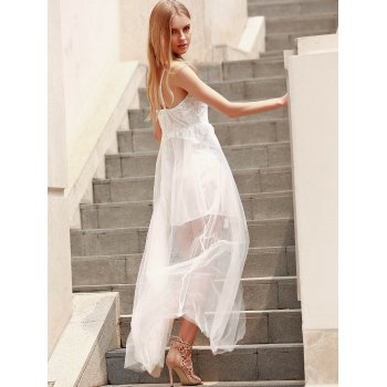 Alluring Spaghetti Strap Sleeveless High Slit Pure Color Women's Dress - WHITE M