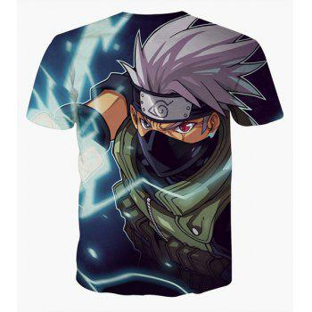 Fashion Round Collar Pullover Ninja Printed T-Shirt For Men - COLORMIX L