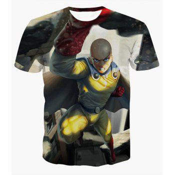 Fashion Round Collar Pullover Man Printed T-Shirt For Men - COLORMIX COLORMIX