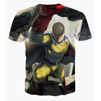 Fashion Round Collar Pullover Man Printed T-Shirt For Men - COLORMIX S