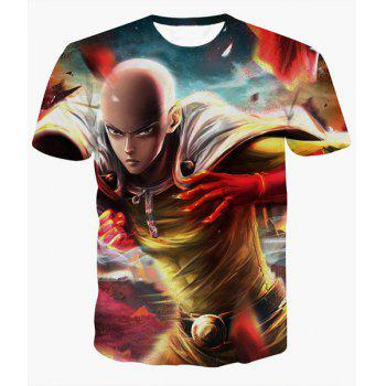 Fashion Pullover Round Collar Man Printed T-Shirt For Men - COLORMIX COLORMIX