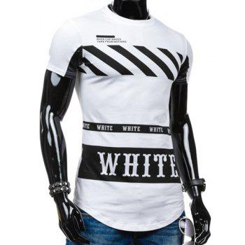 Special Hem Letters Stripes Print Round Neck Short Sleeves Men's T-Shirt - WHITE WHITE