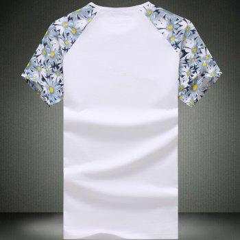 Round Neck Number Pattern Floral Print Splicing Short Sleeve Men's T-Shirt - WHITE WHITE