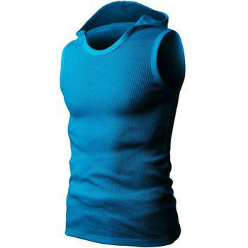 Solid Color Round Neck Sleeveless Men's Rib Tank Top - BLUE BLUE