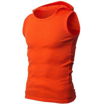 Solid Color Round Neck Sleeveless Men's Rib Tank Top - ORANGE ORANGE