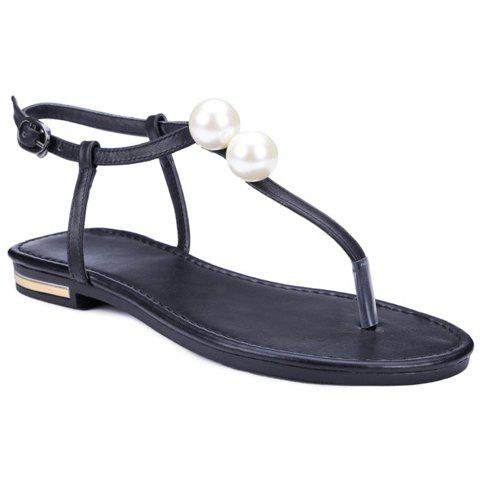 Trendy Faux Pearl and Flat Heel Design Women's Sandals - BLACK 36