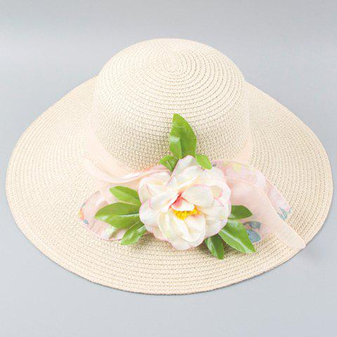 Chic Peony Leaf Shape and Lace Embellished Women's Straw Hat - OFF WHITE