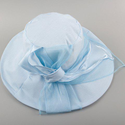 Chic Lace and Lace-Up Embellished Solid Color Women's Sun Hat - LIGHT BLUE