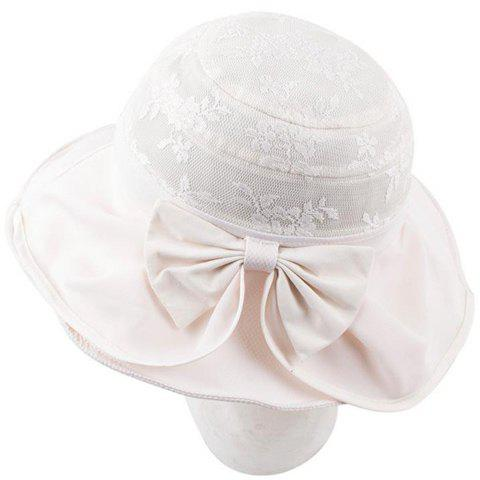 Chic Bow and Flower Lace Embellished Women's Sun Hat - OFF WHITE