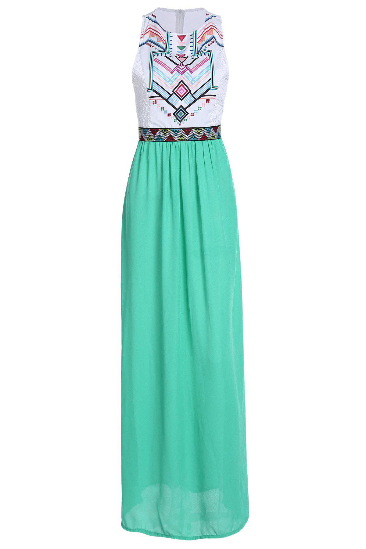 Fashionable Jewel Neck Geometric Print Splicing Sleeveless Maxi Dress For Women - S WHITE
