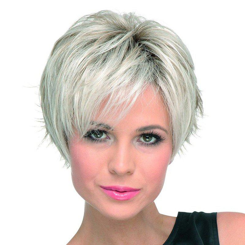 Fluffy Straight Side Bang Fashion Silvery White Mixed Synthetic Wig For Women