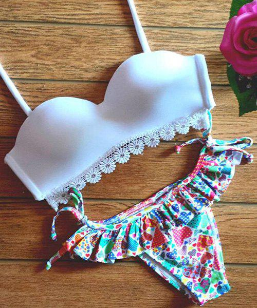 Trendy White Bra + Colorful Print Briefs Bikini Suit For Women - WHITE S