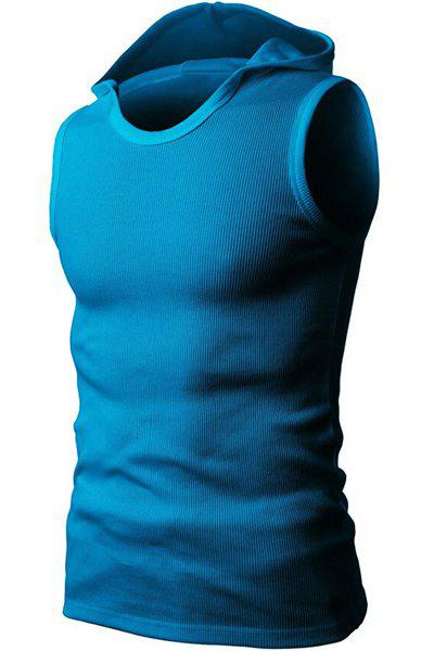 Solid Color Round Neck Sleeveless Men's Rib Tank Top - BLUE XL