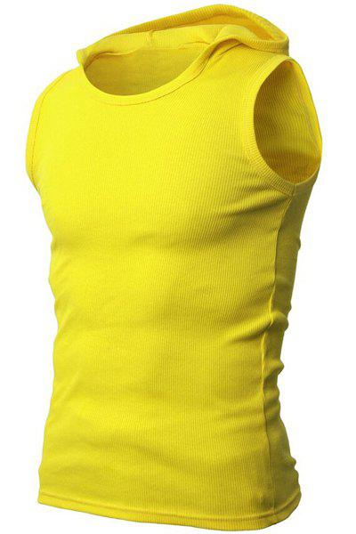 Solid Color Round Neck Sleeveless Men's Rib Tank Top - YELLOW XL