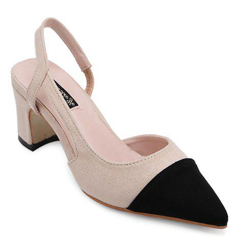 Elegant Chunky Heel and Colour Block Design Women's Sandals