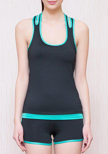 Fashionable U Neck Color Block Racerback Top and Yoga Shorts Suit For Women