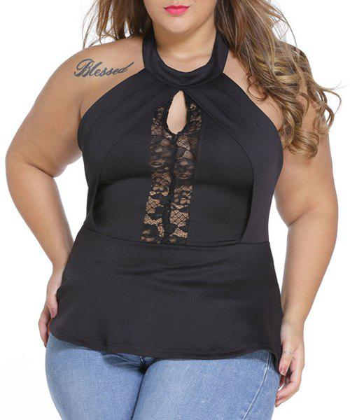 Sexy Breast Cut Out Lace Spliced Black Plus Size T-Shirt For Women колонка портативная harman kardon esquire 2 black