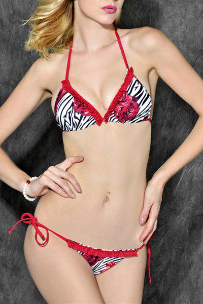 Sexy Zebra Print Floral Halter Neck Women's Bikini Set - RED XL